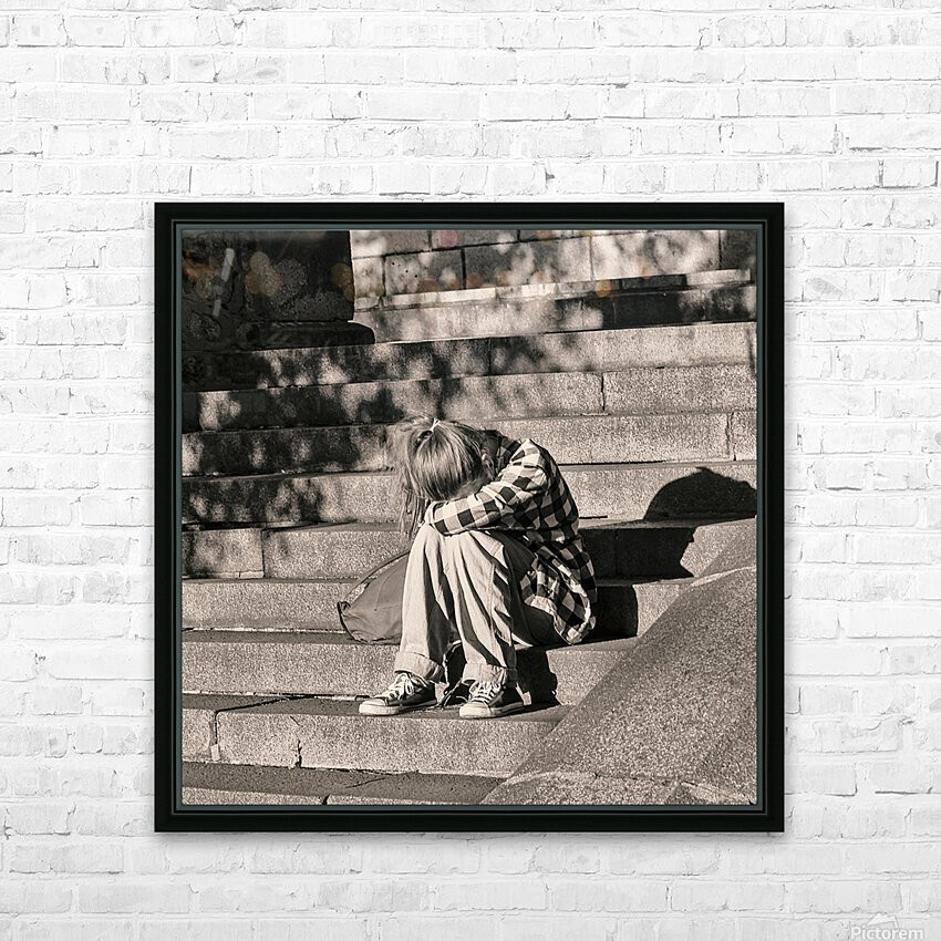 Urban Loneliness - Crying HD Sublimation Metal print with Decorating Float Frame (BOX)