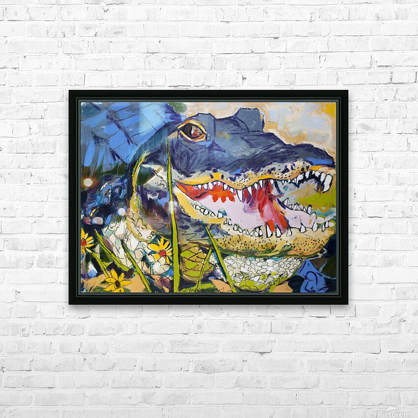 Louisiana Alligator with Wildflowers HD Sublimation Metal print with Decorating Float Frame (BOX)