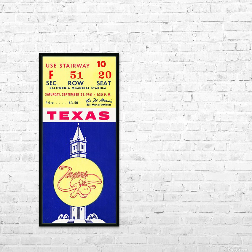 1961 California Bears vs. Texas Longhorns HD Sublimation Metal print with Decorating Float Frame (BOX)