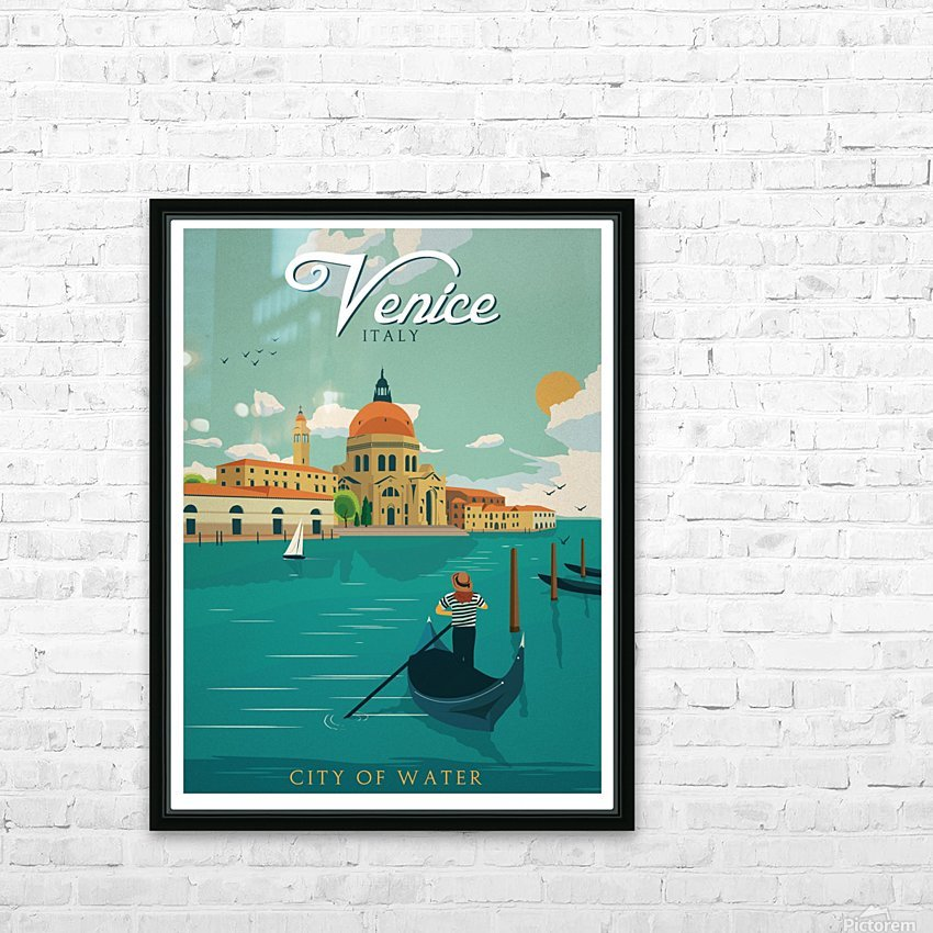Venice Vintage Travel Poster HD Sublimation Metal print with Decorating Float Frame (BOX)