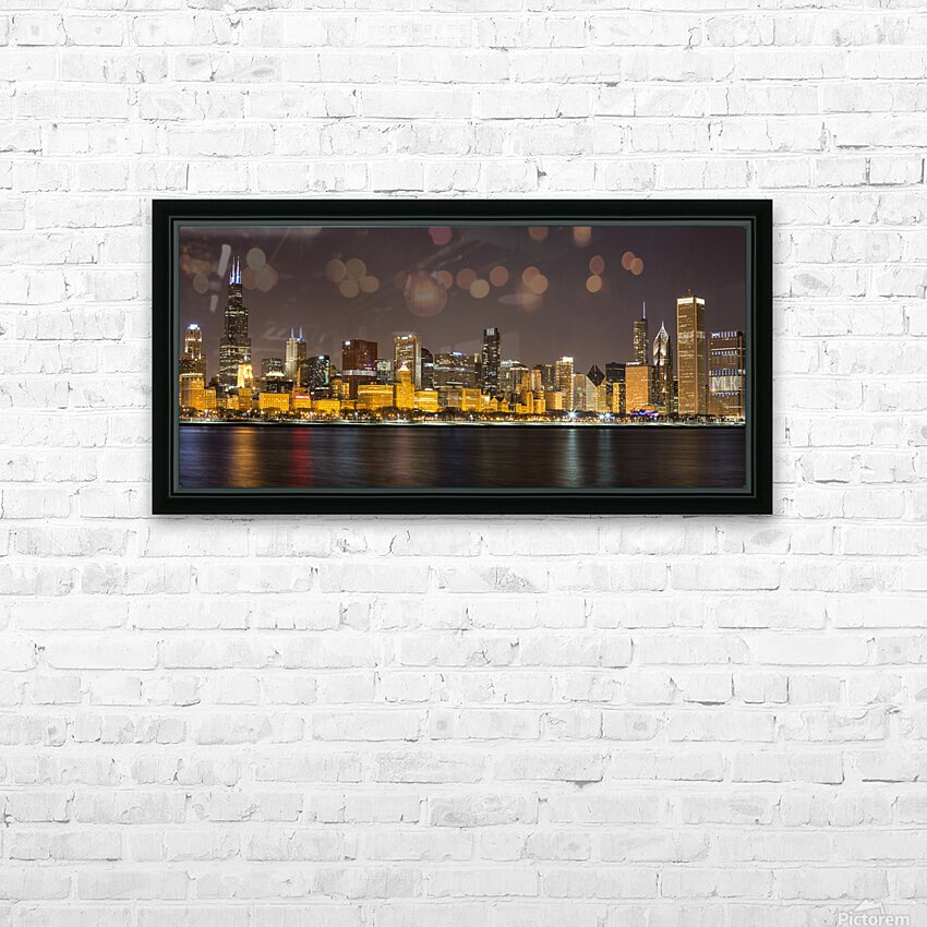Chicago Skyline HD Sublimation Metal print with Decorating Float Frame (BOX)