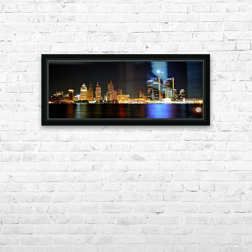 Detroit Skyline HD Sublimation Metal print with Decorating Float Frame (BOX)