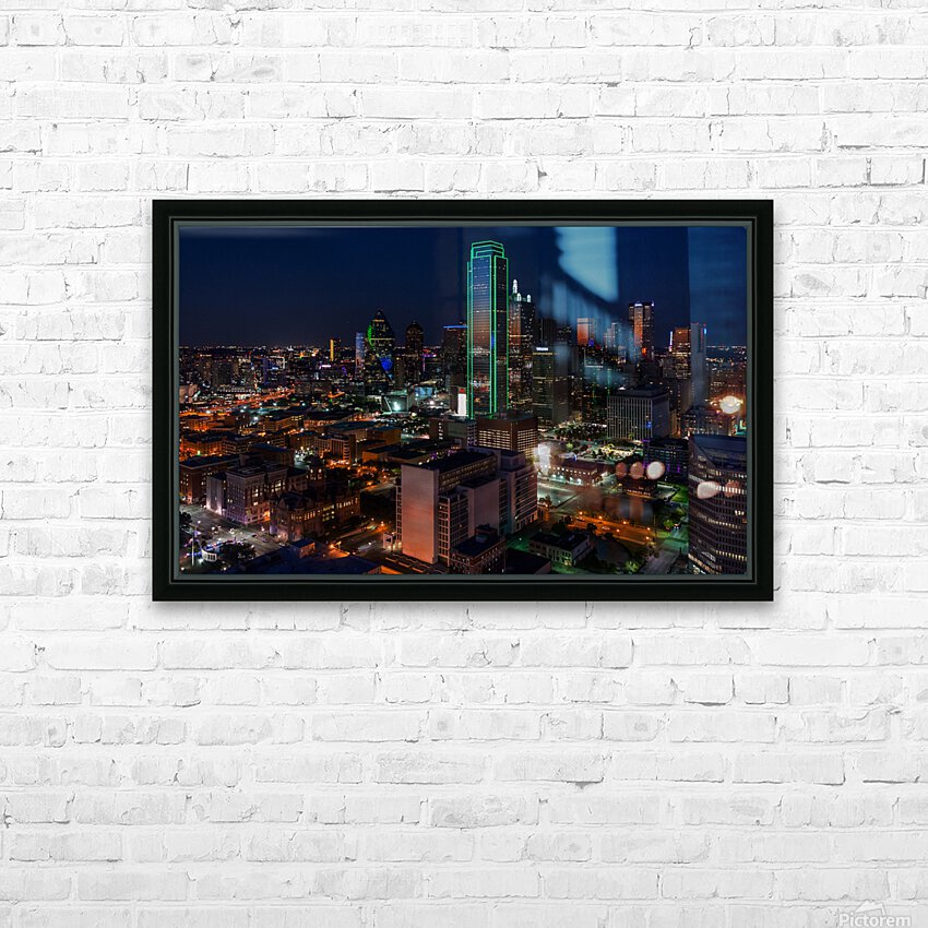 Dallas Skyline HD Sublimation Metal print with Decorating Float Frame (BOX)