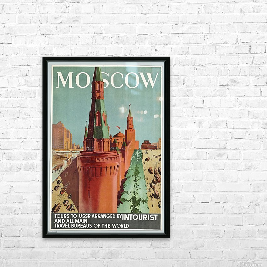 Moscow Vintage Travel Poster HD Sublimation Metal print with Decorating Float Frame (BOX)