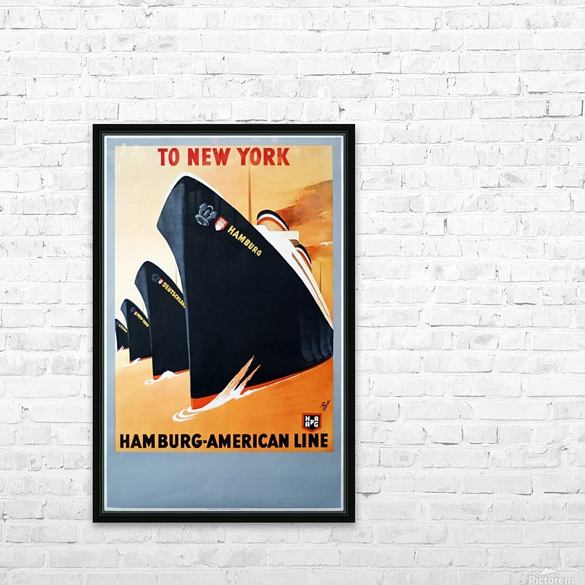To New York Hamburg American Line travel poster HD Sublimation Metal print with Decorating Float Frame (BOX)