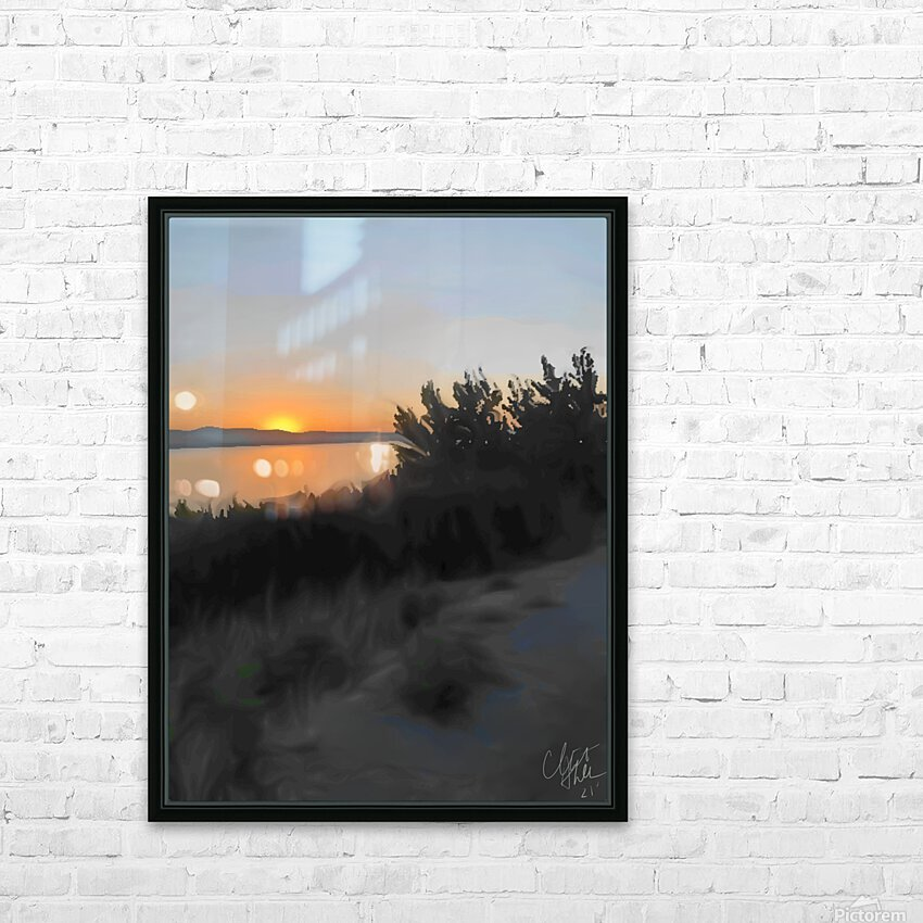 Sunset Over Lake HD Sublimation Metal print with Decorating Float Frame (BOX)