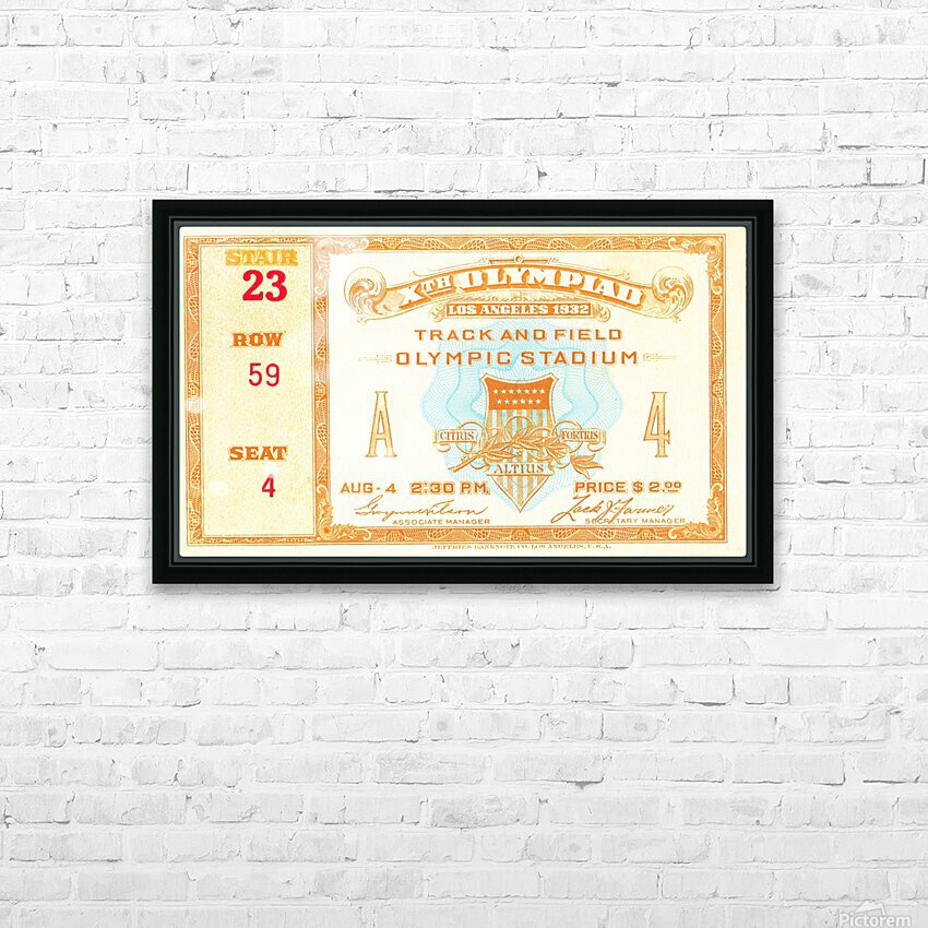 1932 Olympic Track and Field Ticket Stub Art HD Sublimation Metal print with Decorating Float Frame (BOX)
