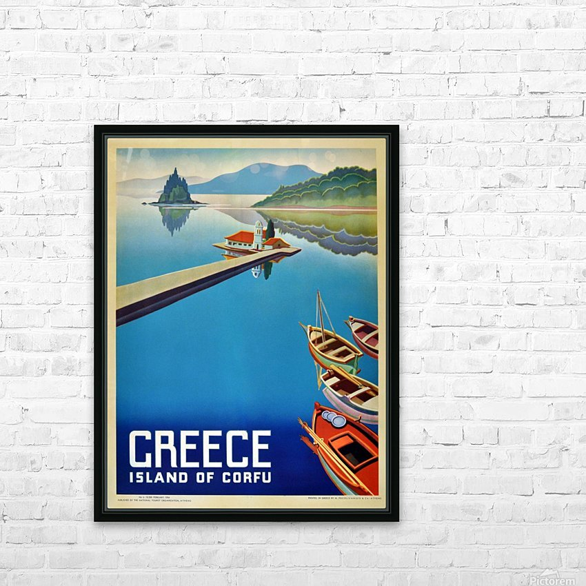 Island of Corfu, Greece Vintage Travel Poster HD Sublimation Metal print with Decorating Float Frame (BOX)