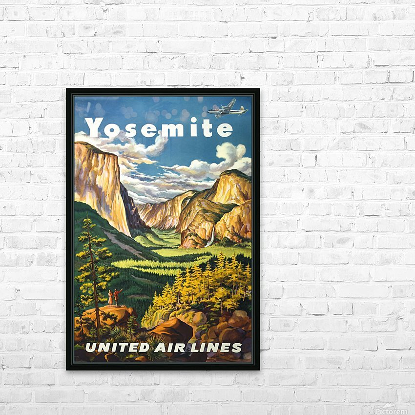 Yosemite United Air Lines travel poster HD Sublimation Metal print with Decorating Float Frame (BOX)