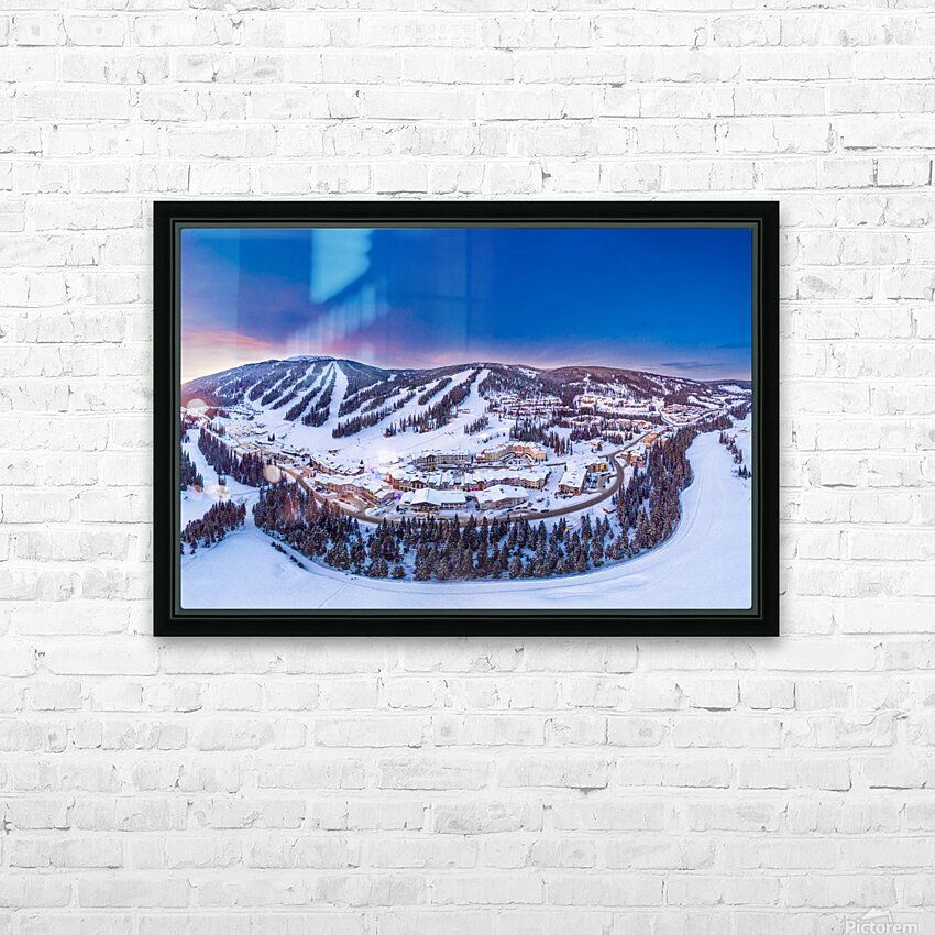 Village Sunset HD Sublimation Metal print with Decorating Float Frame (BOX)