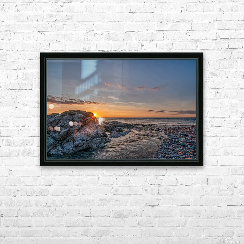 Rocks sun and water HD Sublimation Metal print with Decorating Float Frame (BOX)