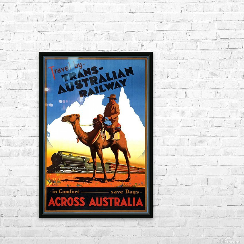 Trans Australian Railway travel poster HD Sublimation Metal print with Decorating Float Frame (BOX)