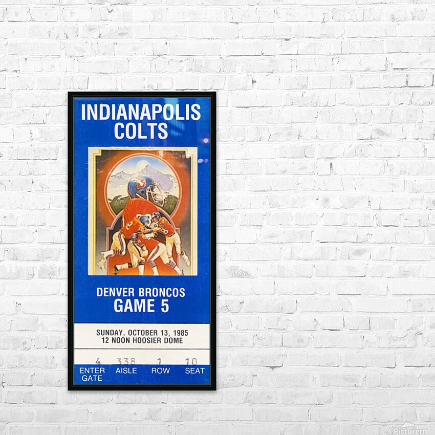 1985 Denver Broncos vs. Indianapolis Colts | Row 1 HD Sublimation Metal print with Decorating Float Frame (BOX)