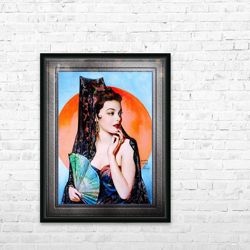 Gene Tierney as Lola Montez by Henry Clive Vintage Xzendor7 Old Masters Art Deco Reproductions HD Sublimation Metal print with Decorating Float Frame (BOX)