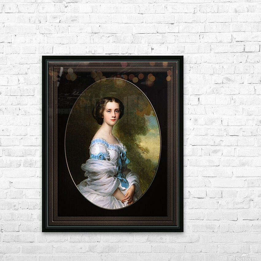 Melanie Renouard de Bussiere by Franz-Xaver Winterhalter Fine Art Xzendor7 Old Masters Reproductions HD Sublimation Metal print with Decorating Float Frame (BOX)