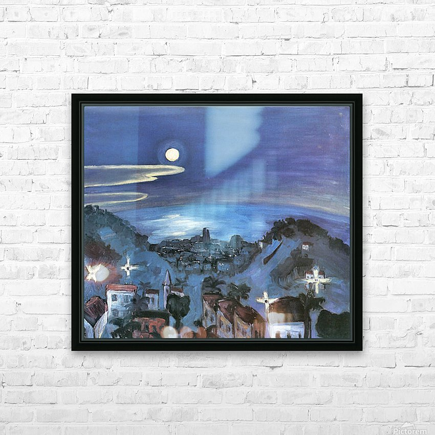 Barcelona (view of the city by night) by Walter Gramatte HD Sublimation Metal print with Decorating Float Frame (BOX)