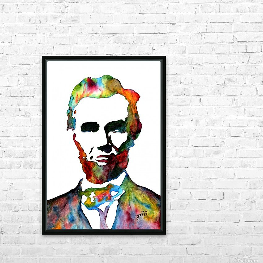 Abraham Lincoln original watercolor  HD Sublimation Metal print with Decorating Float Frame (BOX)