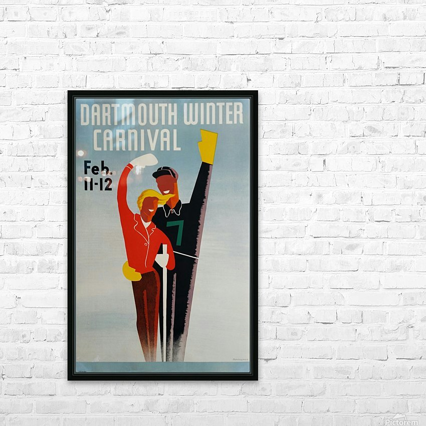 Affiche originale ski Dartmouth winter carnival February 11-12 Armsheimer HD Sublimation Metal print with Decorating Float Frame (BOX)