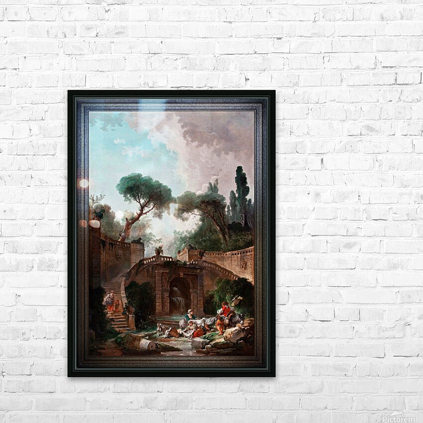 Park vile dEste by Hubert Robert Classical Fine Art Xzendor7 Old Masters Reproductions HD Sublimation Metal print with Decorating Float Frame (BOX)