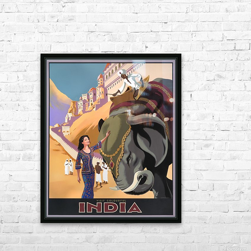 Visit Colorful India Vintage Travel Poster HD Sublimation Metal print with Decorating Float Frame (BOX)