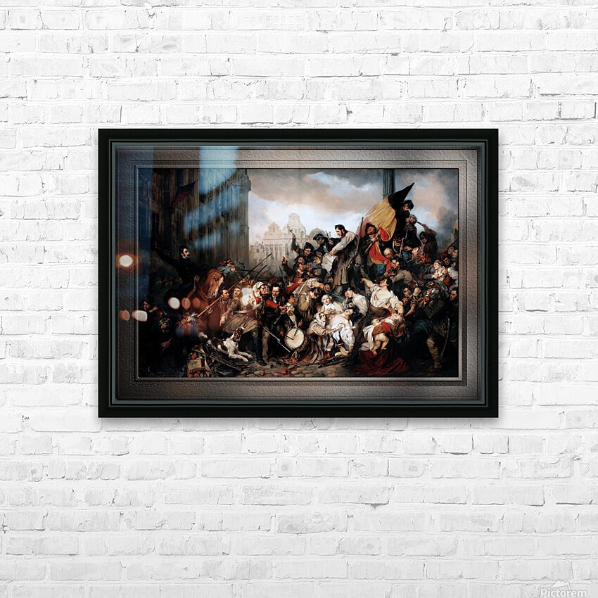 Episode of the September Days 1830 by Gustave Wappers Classical Fine Art Xzendor7 Old Masters Reproductions HD Sublimation Metal print with Decorating Float Frame (BOX)