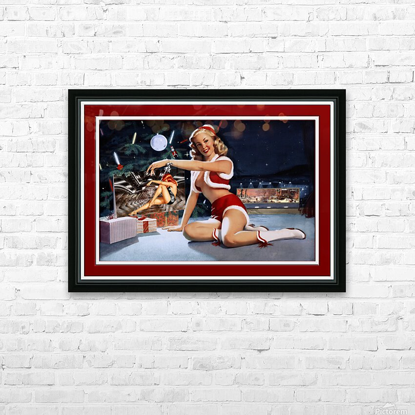 Christmas Pinup by Bill Medcalf Art Old Masters Xzendor7 Reproductions HD Sublimation Metal print with Decorating Float Frame (BOX)