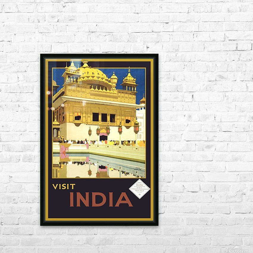 Visit India vintage travel poster HD Sublimation Metal print with Decorating Float Frame (BOX)