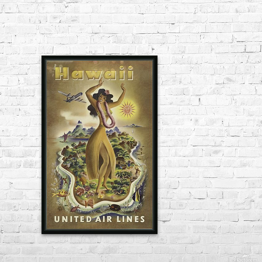 United Air Lines Hawaii Classic Travel Poster HD Sublimation Metal print with Decorating Float Frame (BOX)