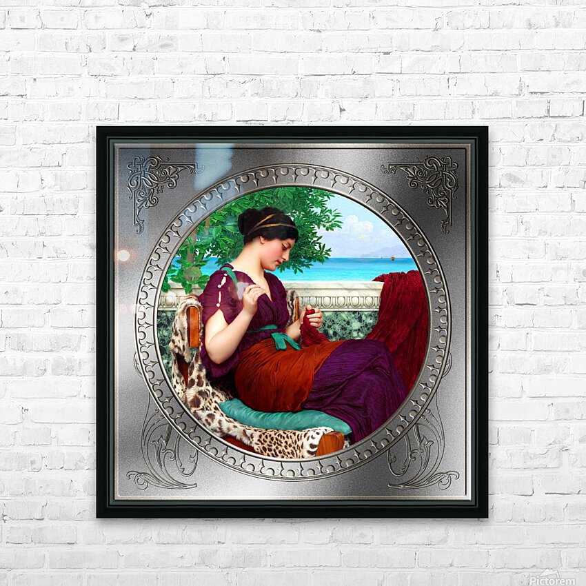Far Away Thoughts c1911 by John William Godward Classical Fine Art Xzendor7 Old Masters Reproductions HD Sublimation Metal print with Decorating Float Frame (BOX)