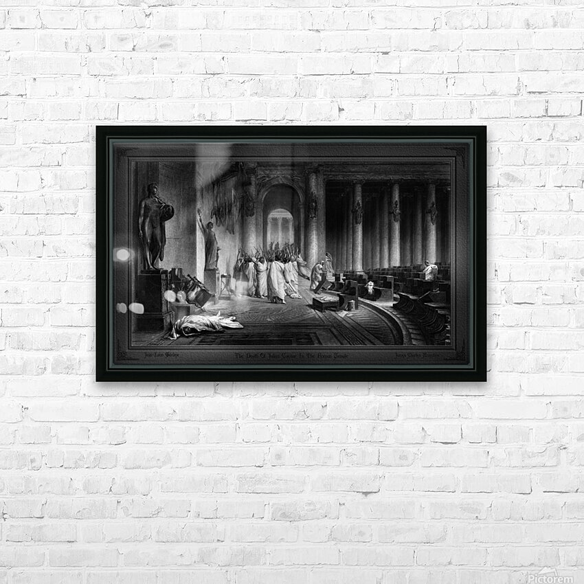 The Death Of Julius Caesar In The Roman Senate Engraving by James Charles Armytage Classical Fine Art Xzendor7 Old Masters Reproductions HD Sublimation Metal print with Decorating Float Frame (BOX)