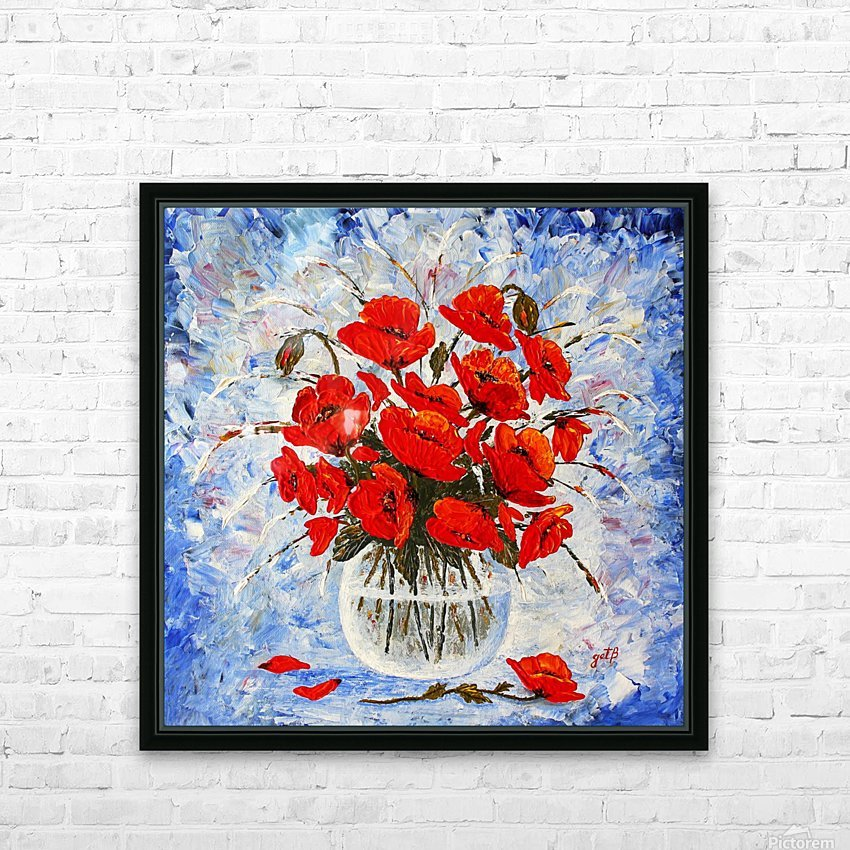 Morning Red Poppies original palette knife painting HD Sublimation Metal print with Decorating Float Frame (BOX)