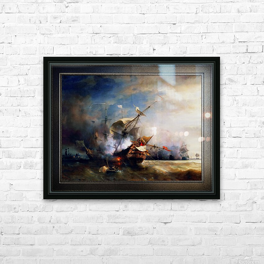 Battle of Cape Lizard in 1707 by Jean Antoine Theodore Gudin Classical Fine Art Xzendor7 Old Masters Reproductions HD Sublimation Metal print with Decorating Float Frame (BOX)