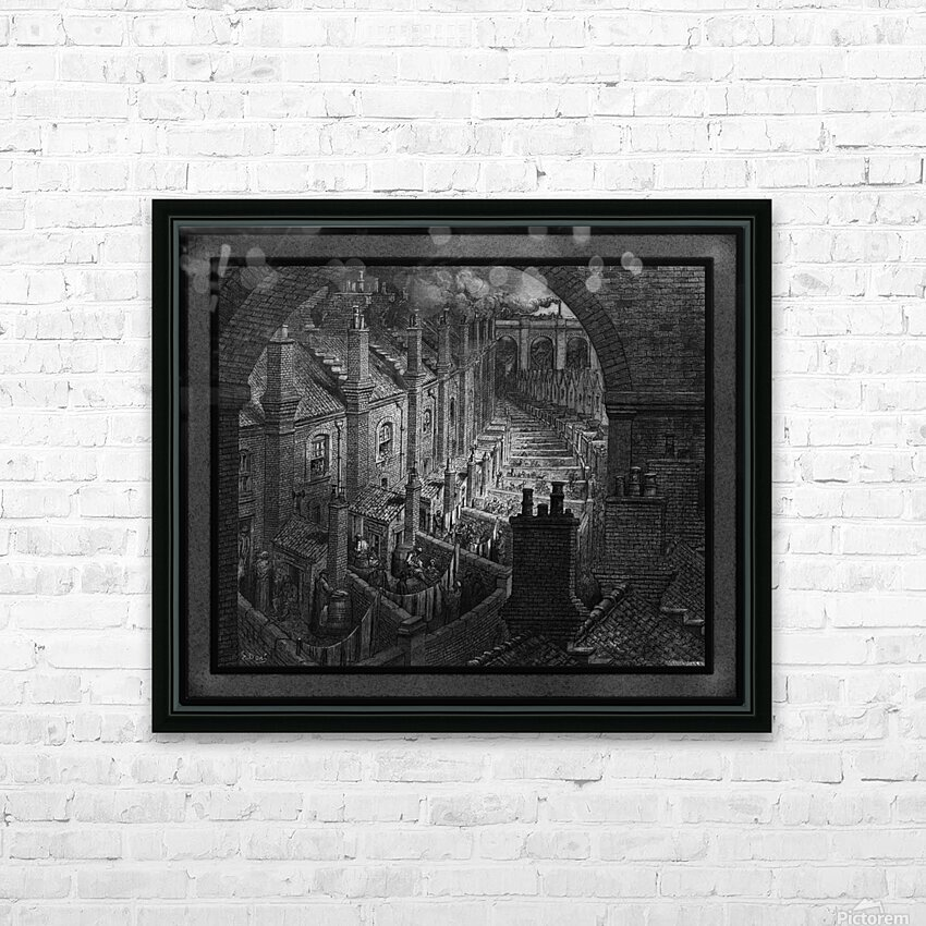 Over London by Rail by Gustave Dore Classical Fine Art Xzendor7 Old Masters Reproductions HD Sublimation Metal print with Decorating Float Frame (BOX)