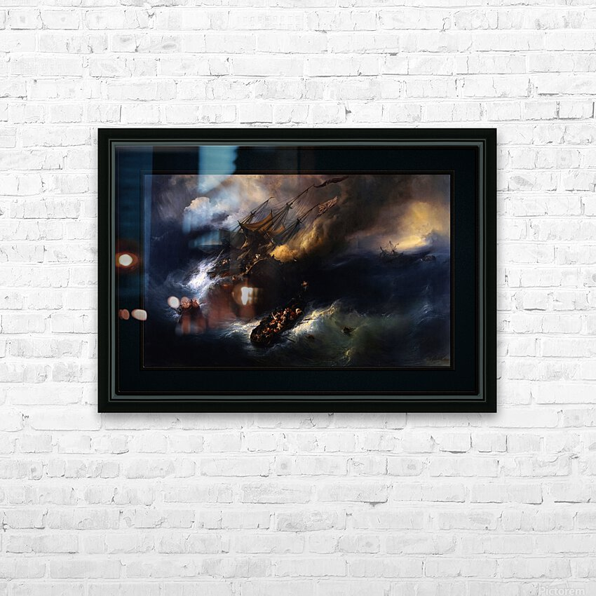 The Loss Of The Indiaman Kent by Theodore Gudin Classical Fine Art Xzendor7 Old Masters Reproductions HD Sublimation Metal print with Decorating Float Frame (BOX)