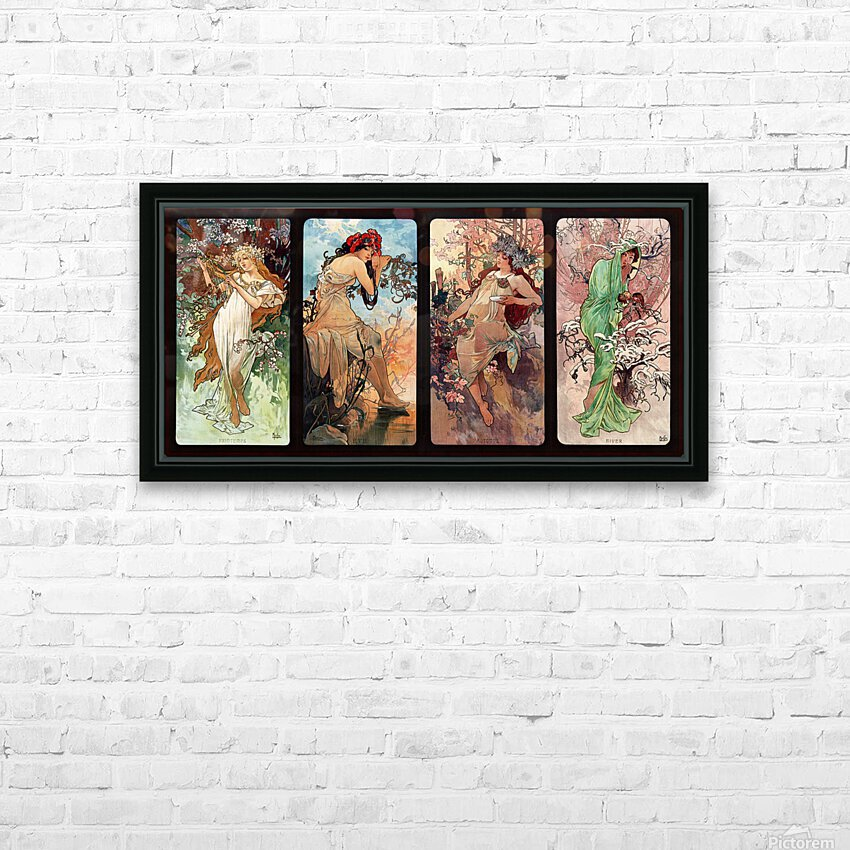 Seasons by Alphonse Mucha Art Nouveau Xzendor7 Old Masters Art Reproductions HD Sublimation Metal print with Decorating Float Frame (BOX)