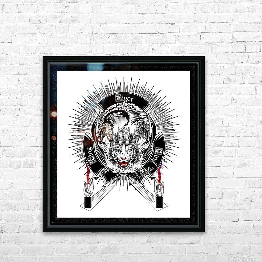 White Tiger King Tiger Art Emblem by Xzendor7 HD Sublimation Metal print with Decorating Float Frame (BOX)