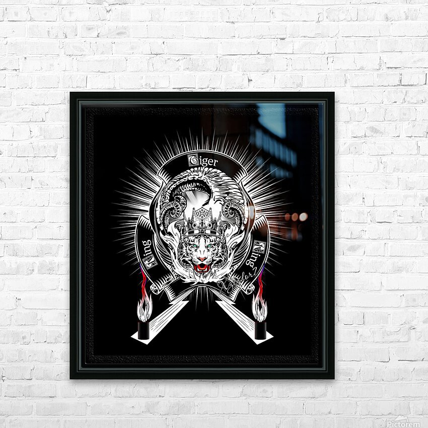 White Tiger King Tiger Art Emblem BlkBgnd by Xzendor7 HD Sublimation Metal print with Decorating Float Frame (BOX)