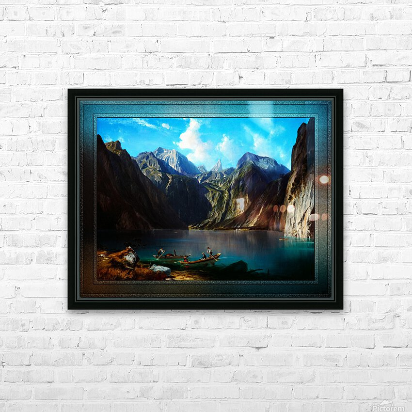 Konigsee c1873 by Willibald Wex Classical Fine Art Xzendor7 Old Masters Reproductions HD Sublimation Metal print with Decorating Float Frame (BOX)