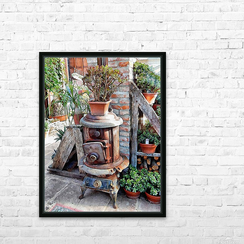 Old Wood Stove With Succulents HD Sublimation Metal print with Decorating Float Frame (BOX)