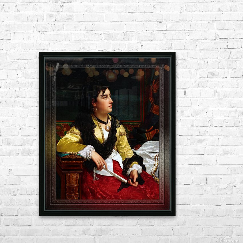 Portrait Of A Noblewoman Holding A Fan by Jan Frederik Pieter Portielje Classical Fine Art Xzendor7 Old Masters Reproductions HD Sublimation Metal print with Decorating Float Frame (BOX)