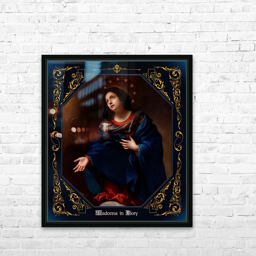 Madonna in Glory by Carlo Dolci Blue Gold Border Xzendor7 Old Master Art Reproductions HD Sublimation Metal print with Decorating Float Frame (BOX)
