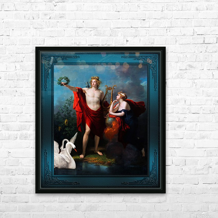 Apollo God of Light with Urania Muse of Astronomy by Charles Meynier Classical Fine Art Xzendor7 Old Masters Reproductions HD Sublimation Metal print with Decorating Float Frame (BOX)