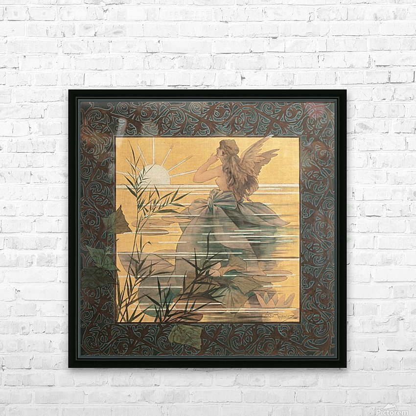 Alexandre-de-Riquer---Winged-nymph-at-sunrise HD Sublimation Metal print with Decorating Float Frame (BOX)