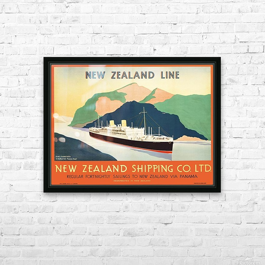 Vintage travel advert for transport to New Zealand via Panama HD Sublimation Metal print with Decorating Float Frame (BOX)