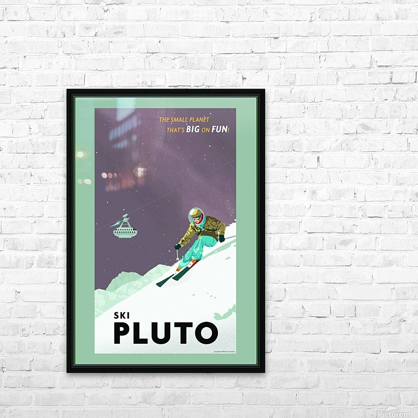 Ski Pluto poster HD Sublimation Metal print with Decorating Float Frame (BOX)