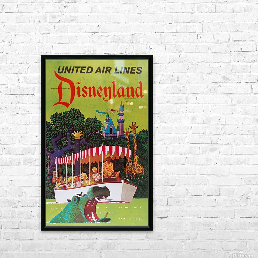 United Air Lines the official airline to Disneyland poster HD Sublimation Metal print with Decorating Float Frame (BOX)