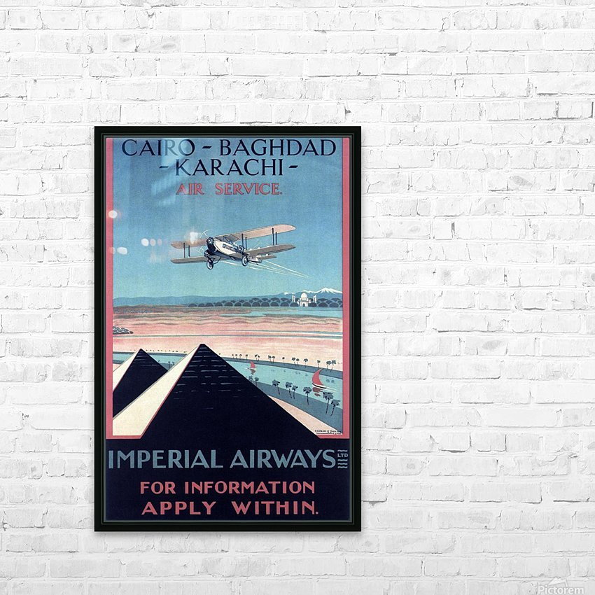 Airways Cairo Baghdad Karachi Vintage Travel Poster HD Sublimation Metal print with Decorating Float Frame (BOX)