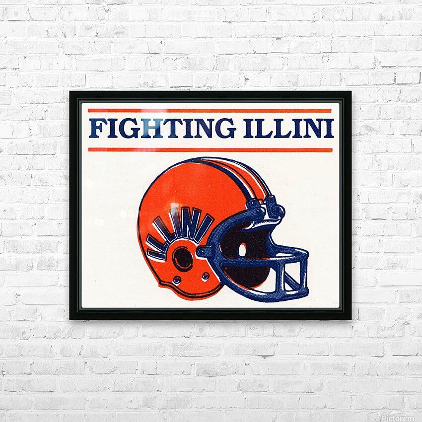 Retro Illinois Football Helmet Art HD Sublimation Metal print with Decorating Float Frame (BOX)