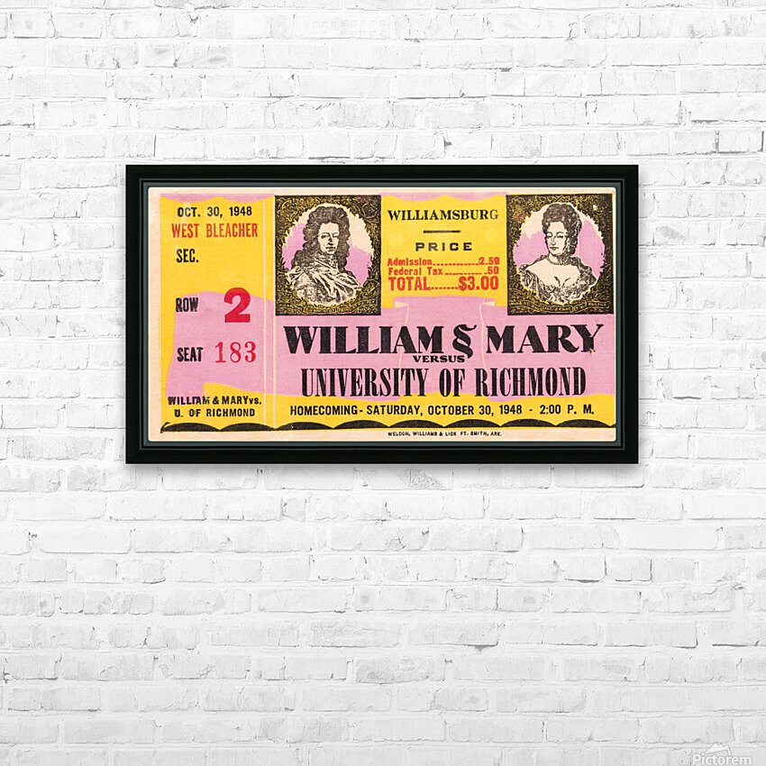 1948 William and Mary vs. Richmond HD Sublimation Metal print with Decorating Float Frame (BOX)
