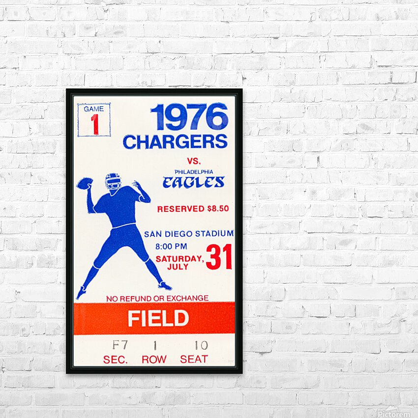 1976 San Diego Chargers vs. Philadelphia Eagles HD Sublimation Metal print with Decorating Float Frame (BOX)